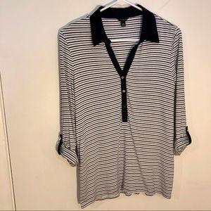Ann Taylor medium casual top black white striped